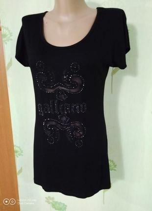 Шикарная чёрная футболка-m-l-john galliano- италия- идеал