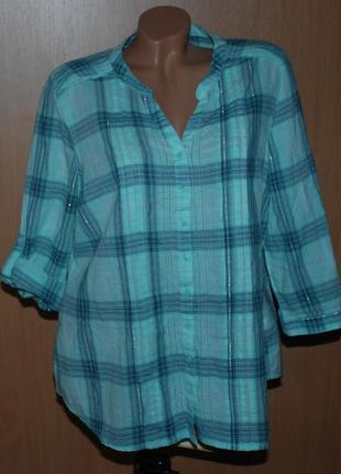 Блуза принтованая бренда bm / 99%хлопок /регулируемый рукав /