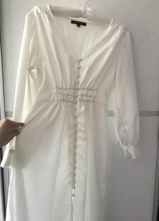 Белое длинное платье миди на пуговках в стиле zara макси s