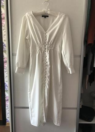 Белое длинное платье миди на пуговках в стиле zara макси s3 фото