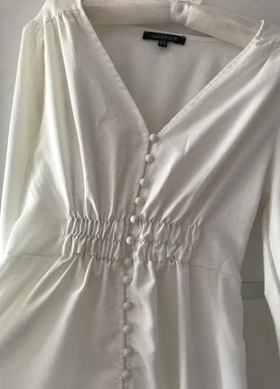 Белое длинное платье миди на пуговках в стиле zara макси s2 фото
