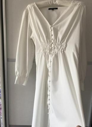 Белое длинное платье миди на пуговках в стиле zara макси s5 фото