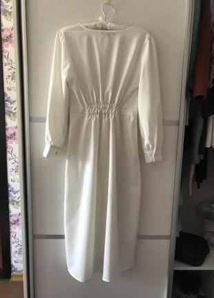 Белое длинное платье миди на пуговках в стиле zara макси s4 фото