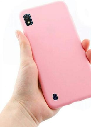 Матовый силиконовый чехол на samsung galaxy a10 розовый