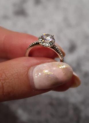 Серебрянок кольцо с кубическим цирконием