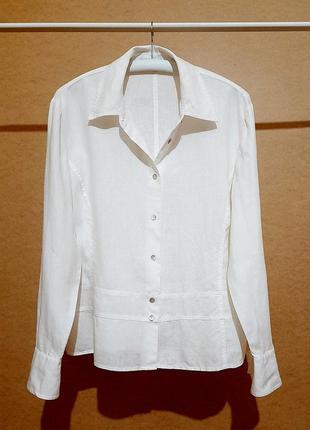 Льняная белая рубашка лен длинный рукав