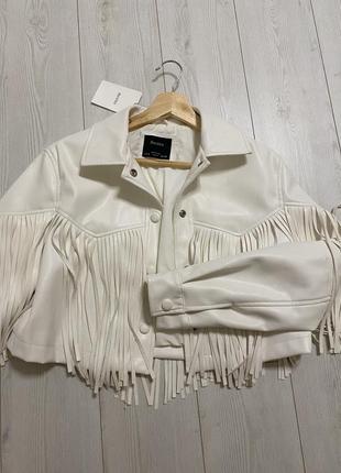 Куртка белая из искусственной кожи