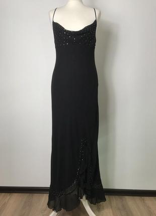 100% шелк! шелковое вечернее коктельное нарядное макси платье в пол комбинация м/36/8.