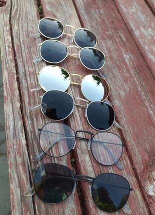Стильные круглые очки черные золотая серебристая оправа round хит сезона бестселлер