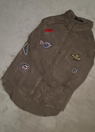 Котоновая рубашка с патчами нашивками размер 10-12 paris in vogue3 фото