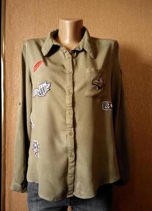 Котоновая рубашка с патчами нашивками размер 10-12 paris in vogue