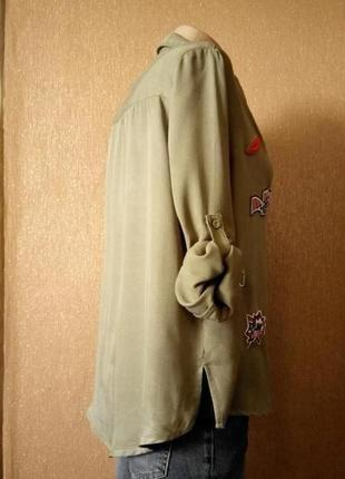 Котоновая рубашка с патчами нашивками размер 10-12 paris in vogue2 фото