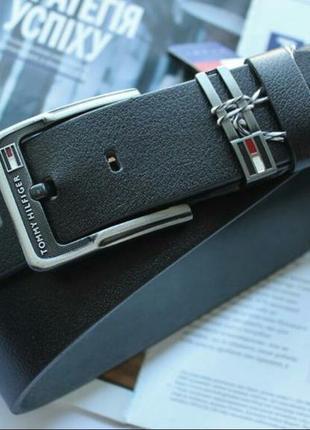 Мужской кожаный ремень для джинс tommy hilfiger + фирменная коробка