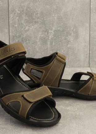Мужские сандали кожаные летние оливковые