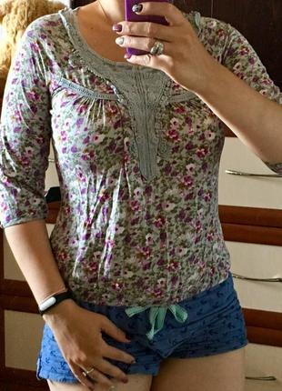💷лёгкая кофта блузка с кружевом в цветочный принт marks&spencer 10рр