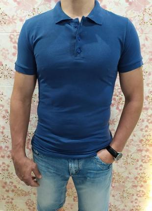 Мужская футболка поло, поло трикотаж, синяя футболка поло, поло лакоста