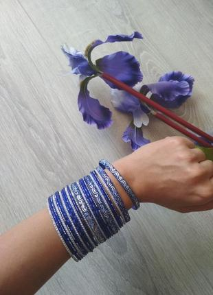 Браслет браслеты набор синие серебристые