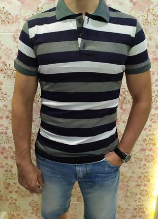 Мужская футболка поло, поло трикотаж, полосатая футболка поло, поло лакоста