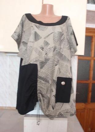 Натуральная французская блуза бохо батал, лен+вискоза, франция не мнется