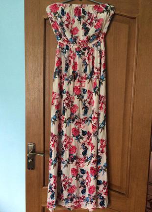 Платье в пол цветочный принт