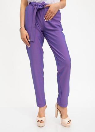 Фиолетовые брюки с синим отливом, 3 цв, с завязывающимся поясом
