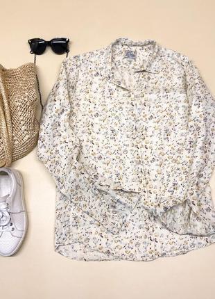 Льняная рубашка в мелкий цветочный принт