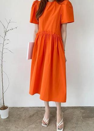 Платье летнее  миди оранжевое с молнией на спине с рукавом