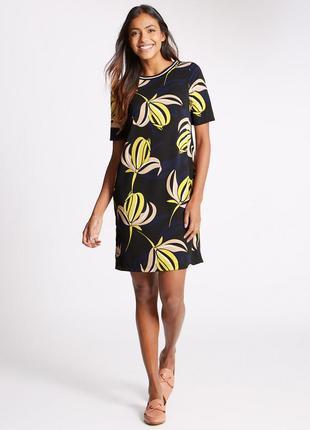 Платье-туника с коротким рукавом и цветочным принтом m&s(размер 12-14)