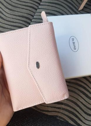 Кошелек кожаный пудровый светло розовый из натуральной кожи