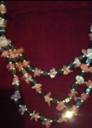 Ожерелье гематит бусы браслет колье