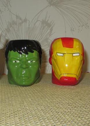 Чашки marvel, 75 мл - супергерои халк, железный человек