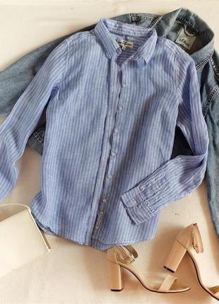 Льняная рубашка в полоску 100% лен льон