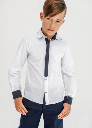 Рубашка классическая для мальчиков с имитацией галстука