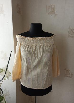 Натуральная блузка с открытыми плечами, хлопок, на лето, кармен