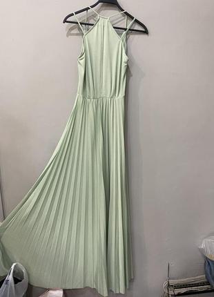 Платье фисташковое летнее длинное5 фото
