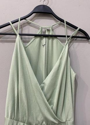 Платье фисташковое летнее длинное2 фото