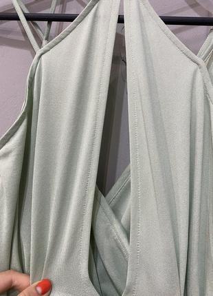 Платье фисташковое летнее длинное4 фото
