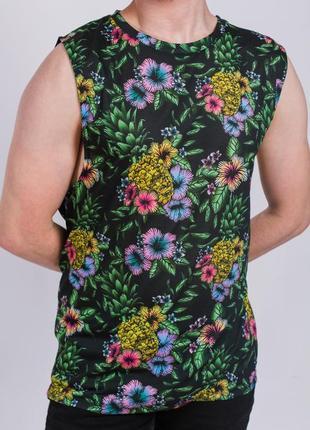 Майка-безрукавка в тропические цветочный принт