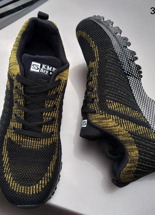 Кроссовки мужские черно-желтые черные желтые р41-46
