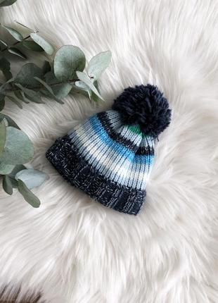 Синяя детская шапочка вязаная теплая