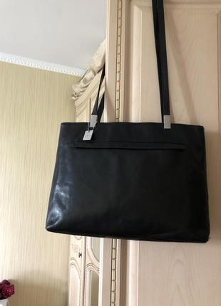 Добротная статусная кожаная сумка, натуральная глянцевая кожа, формат а4, деловая тоут