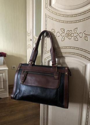 Добротная дорогая статусная кожаная сумка тоут, натуральная кожа, формат а4, fossil