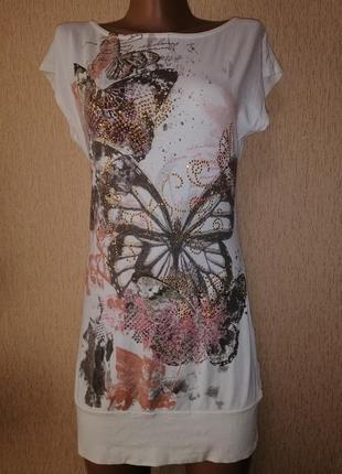 Красивое короткое трикотажное женское платье, туника 14 размера jane norman