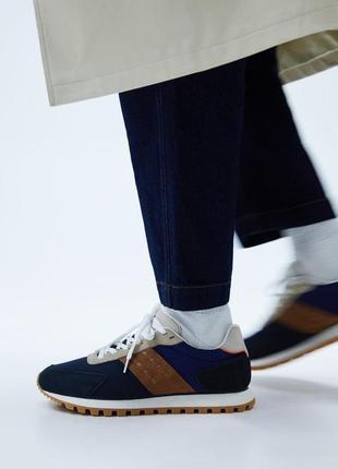 Мужские кожаные кроссовки zara