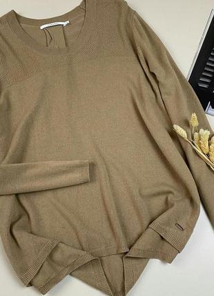 Фирменный свитер свободного кроя, цвета кемел,  с добавлением шерсти