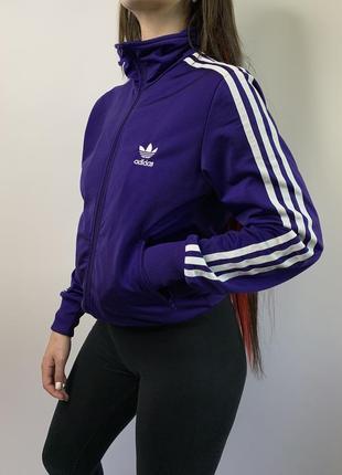 Оригинальная фиолетовая олимпийка мастерка худи свитшот adidas с лампасами