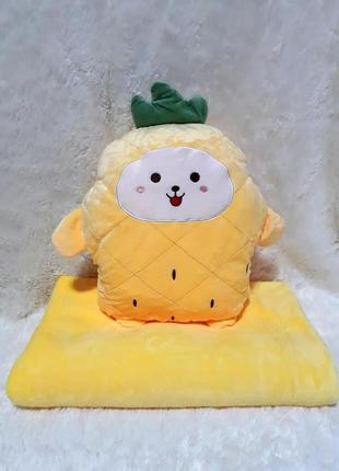 Плед - мягкая игрушка 3 в 1 ананасик