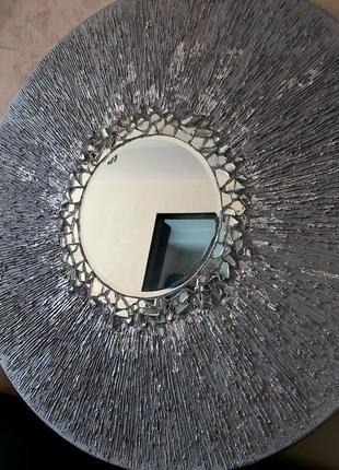 Интерьерная текстурная картина с зеркалом
