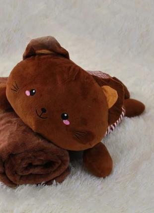 Плед-мягкая игрушка 3 в 1 котик цвет - шоколадный