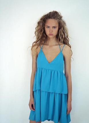 Платье небесно голубое сарафан с рюшами мини с оборками воланами zara оригинал